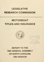 Cover of: Motorboat titles and insurance | North Carolina. General Assembly. Legislative Research Commission.