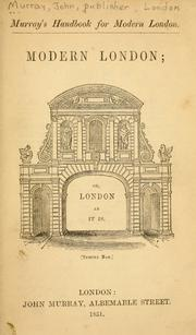 Cover of: Murray's handbook for modern London by John Murray (Firm)