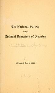 Cover of: National society of the colonial daughters of America. |