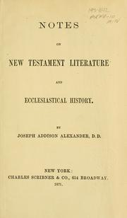 Cover of: Notes on New Testament literature and ecclesiastical history |