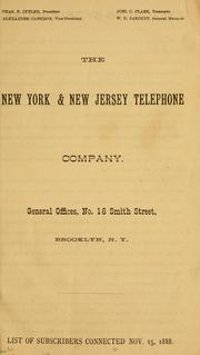 Cover of: The New York & New Jersey Telephone  Company by New York and New Jersey Telephone Company