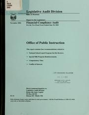 Office of Public Instruction financial-compliance audit for the two fiscal years ended .. by Montana. Legislature. Legislative Audit Division.