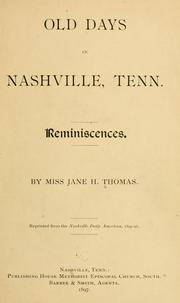 Old days in Nashville, Tenn.