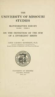 Cover of: On the definition of the sum of a divergent series | Louis Lazarus Silverman
