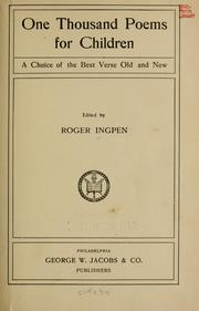 Cover of: One thousand poems for children | Roger Ingpen