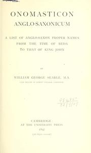 Cover of: Onomasticon anglo-saxonicum | William George Searle