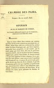 Cover of: Opinion | Coislin marquis de.