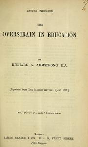 Cover of: overstrain in education | Richard A. Armstrong