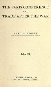 Cover of: The Paris Conference and trade after the war by Harold Storey