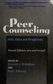 Cover of: Peer counseling | edited by Vincent J. D'Andrea and Peter Salovey.
