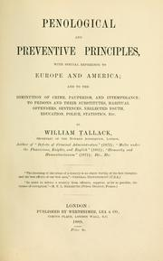 Cover of: Penological and preventive principles | Tallack, William