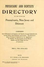 Cover of: Physicians' and dentists' directory of the states of Pennsylvania, New Jersey and Delaware |