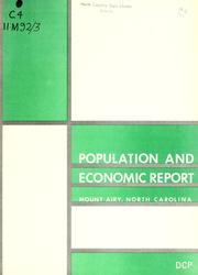 Cover of: Population and economic report, Mount Airy, North Carolina | North Carolina. Division of Community Planning