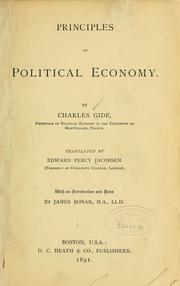 Cover of: Principles of political economy | Charles Gide