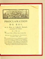 Cover of: Proclamation du Roi