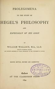 Cover of: Prolegomena to the study of Hegel