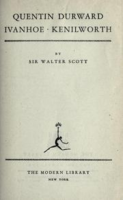 Cover of: Quentin Durward by Sir Walter Scott