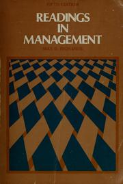 Cover of: Readings in management | Max De Voe Richards