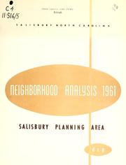 Salisbury, North Carolina, neighborhood analysis, 1961 by North Carolina. Division of Community Planning