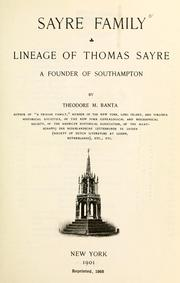 Cover of: Sayre family | Theodore Melvin Banta