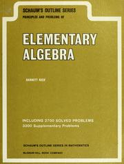 Cover of: Schaum's principles and problems of elementary algebra | Barnett Rich