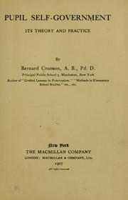 Pupil self-government by Cronson, Bernard