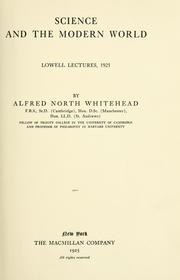 Cover of: Science and the modern world. by Alfred North Whitehead