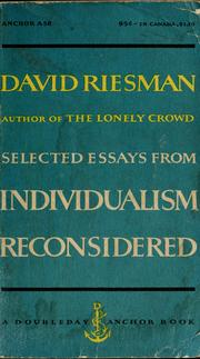 Cover of: Selected essays from Individualism reconsidered | David Riesman