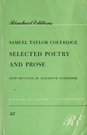 Cover of: Selected poetry and prose by Samuel Taylor Coleridge
