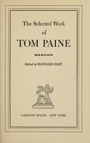 Cover of: The selected work of Tom Paine | Thomas Paine