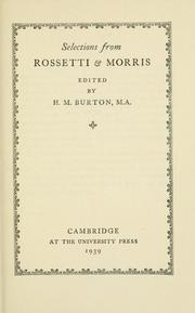Cover of: Selections from Rossetti & Morris | Dante Gabriel Rossetti