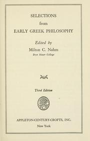 Cover of: Selections from early Greek philosophy. | Nahm, Milton Charles