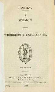 Cover of: A sermon against whoredom and uncleanness | Church of England