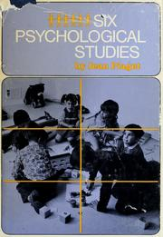 Cover of: Six psychological studies