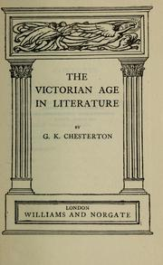 Cover of: The Victorian age in literature