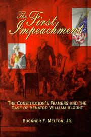 Cover of: The first impeachment | Buckner F. Melton