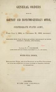 Cover of: General orders from the Adjutant and Inspector-General