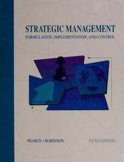 Cover of: Strategic management | Pearce, John A.