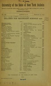 Cover of: Syllabus for secondary schools, 1910 ... | New York (State) University
