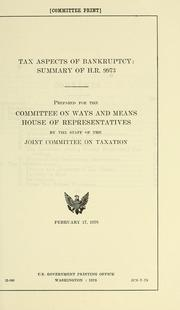 Cover of: Tax aspects of bankruptcy | United States. Congress. Joint Committee on Taxation