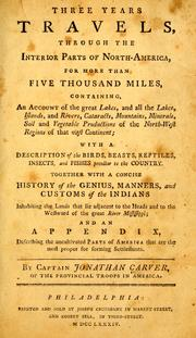 Cover of: Travels through the interior parts of North America, in the years 1766, 1767, and 1768