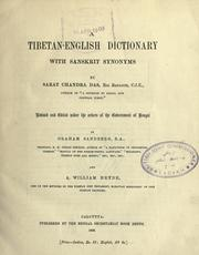 Cover of: A Tibetan-English dictionary with Sanskrit synonyms by Sarat Chandra Das