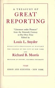 Cover of: A treasury of great reporting