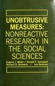 Cover of: Unobtrusive measures | Eugene J. Webb ....