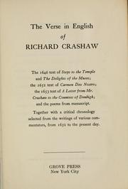 Cover of: The verse in English of Richard Crashaw by Crashaw, Richard