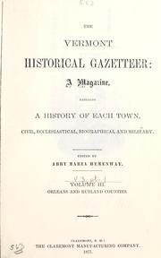 Cover of: The Vermont historical gazetteer