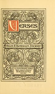 Cover of: Verses | Stickney, Helen R. Hamersley Mrs.