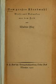 Cover of: Vom grossen Abendmahl