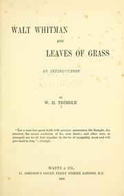 Cover of: Walt Whitman and Leaves of grass by William Heywood Trimble
