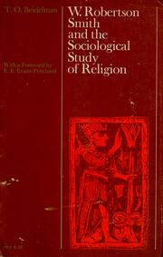 Cover of: W. Robertson Smith and the sociological study of religion | T. O. Beidelman